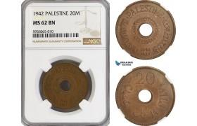 AG831, Palestine, 20 Mils 1942, London, NGC MS62BN