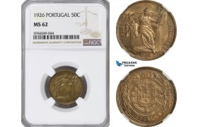 AG834, Portugal, 50 Centavos 1926, NGC MS62