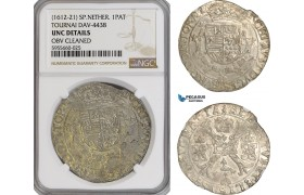 AG845, Spanish Netherlands, Tournai, Albert & Isabella, Patagon 1612-21, Silver, Dav-4438, NGC UNC Det.