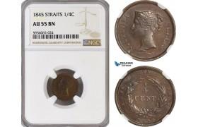 AG847, Straits Settlements, Victoria, 1/4 Cent 1845, NGC AU55BN