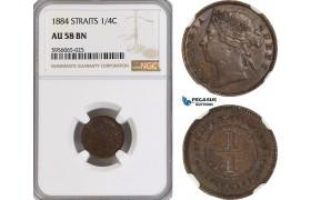 AG848, Straits Settlements, Victoria, 1/4 Cent 1884, NGC AU58BN