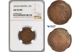 AG849, Straits Settlements, Victoria, 1/2 Cent 1872-H, Heaton, NGC AU55BN