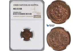 AG857, Switzerland, Rappen 1900-B, Bern, NGC MS65RB, Pop 1/0