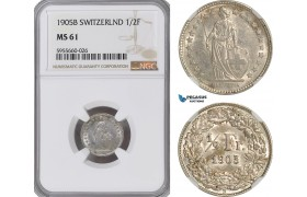 AG858, Switzerland, 1/2 Franc 1905-B, Bern, Silver, NGC MS61