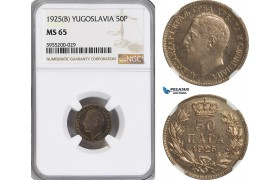AG861, Yugoslavia, Alexander I, 50 Para 1925 (B), NGC MS65