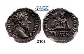 Lot: 2103. Roman Empire, Marcus Aurelius, 161-180 AD, Denarius (Struck 164 AD) Rome, Silver (3.40g), NGC Ch XF