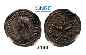 Lot: 2140. Roman Empire, Probus, 276-­282 AD, Antoninianus, 5th officina, 3rd emission (280 AD) Cyzicus, Billon (3.42g), NGC MS