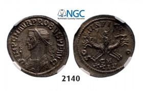 Lot: 2140. Roman Empire, Probus, 276-282 AD, Antoninianus, 5th officina, 3rd emission (280 AD) Cyzicus, Billon (3.42g), NGC MS