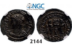 Lot: 2144. Roman Empire, Constantine I, 307-­337 AD, Æ3 (Nummus) (Struck 319-­320) Siscia, Billon (2.74g), NGC MS