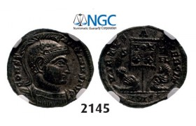Lot: 2145. Roman Empire, Constantine I, 307-­337 AD, Æ3 (Nummus) (Struck 320 AD) Siscia, Billon (2.32g), NGC MS