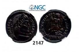 Lot: 2147. Roman Empire, Constantine I, 307-337 AD, Æ3 (Nummus) (Struck 324 AD) Sirmium, Billon (3.41g), NGC Ch AU