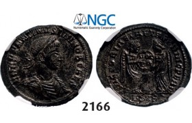 Lot: 2166. Roman Empire, Constantine II as Caesar, 337-­361 AD, Æ3 (Nummus) (Struck 338-­339) AD) Siscia, Billon (2.60g), NGC AU