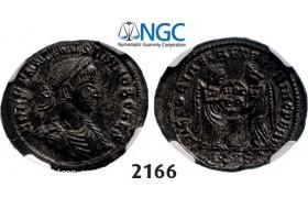 Lot: 2166. Roman Empire, Constantine II as Caesar, 337-361 AD, Æ3 (Nummus) (Struck 338-339) AD) Siscia, Billon (2.60g), NGC AU