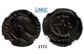 Lot: 2172. Roman Empire, Julian II, 360-363 AD, Æ3 (Nummus) Siscia, Bronze (3.20g), NGC Ch AU