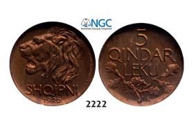 Lot: 2222. Albania, Ahmed Bey Zogu I, 1928-1939, 5 Qindar Leku, 1926-R, Rome, NGC MS65RB