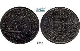 Lot: 2230. Austria, Leopold, 1619-1632, Taler 1632, Hall, Silver, NGC AU55