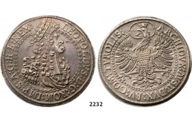Lot: 2232. Austria, Leopold, 1657-­1705, Double Taler, No Date (1695) Hall, Silver