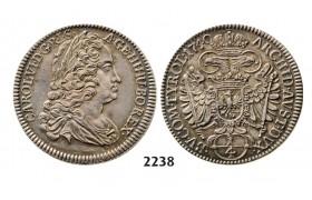 Lot: 2238. Austria, Charles VI, 1711-1740, ¼ Taler 1740, Hall, Silver