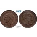 Lot: 2277. Belgium, Kingdom, Leopold I, 1831-1865, 10 Centimes 1853, Copper. Royal wedding, NGC MS61BN