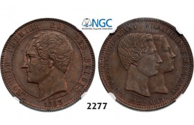 Lot: 2277. Belgium, Kingdom, Leopold I, 1831-­1865, 10 Centimes 1853, Copper. Royal wedding, NGC MS61BN
