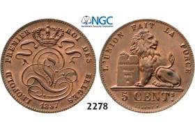Lot: 2278. Belgium, Kingdom, Leopold I, 1831-­1865, 5 Centimes 1857, Copper, NGC MS63RB