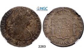 Lot: 2283. Bolivia, Spanish colony, Charles IV, 1788-1808, 8 Reales 1808-PTS/PJ, Potosi, Silver, NGC VF35