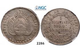 Lot: 2286. Bolivia, Republic, 1825-, Boliviano 1866-PTS FP, Potosi, Silver, NGC AU58