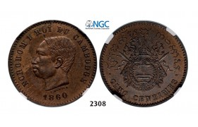 Lot: 2308. Cambodia, Norodom I, 1859-­1904, 5 Centimes 1860 (Dated) Bronze, NGC MS64BN