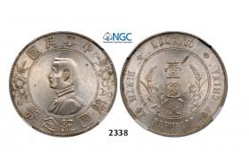 "Lot: 2338. China, Republic, Yuan (Dollar ) 1927 ""Memento"" Silver, NGC MS62"