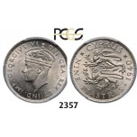 Lot: 2357. Cyprus, George VI, 1936-­1952, 9 Piastres 1940, London, Silver, PCGS MS62