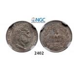 Lot: 2402. France, Louis Philippe, 1830-1848, ¼ Franc 1841-K, Bordeaux, Silver, NGC MS62