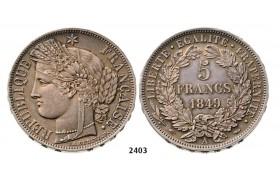 2403. France, Second Republic, 1848-1852 , 5 Francs 1849-A, Paris, Silver, Prooflike!