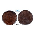 Lot: 2420. France, Napoleon III, 1852-­1870, 2 Centimes 1853­-D (Small D) Lyon, Bronze, PCGS MS63RB