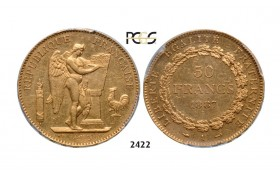 Lot: 2422. France, Third Republic, 1871-­1940, 50 Francs 1887­-A, Paris, GOLD , PCGS AU55