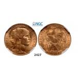 Lot: 2427. France, Third Republic, 1871-1940, 20 Francs 1913, Paris, GOLD, NGC MS65