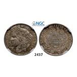 Lot: 2437. France, Third Republic, 1871-1940, 50 Centimes 1871-A, Paris, Silver, NGC MS62
