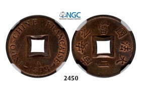 Lot: 2450. France, French Indo­ China (Vietnam), 2 Sapeque 1898­-A, Paris, Bronze, NGC MS63RB