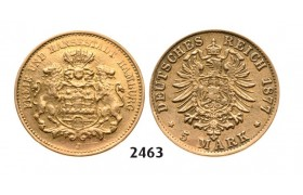 Lot: 2463. Germany, Empire, local coinage, Hamburg, 5 Mark 1877­-J, Hamburg, GOLD