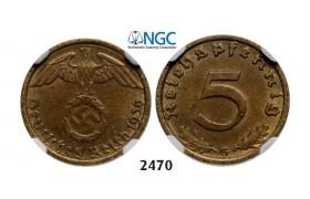 Lot: 2470. Germany, Third Reich, 1933-1945, 5 Reichpfennig 1936-G, Karlsruhe, Aluminums-Bronze, NGC AU58