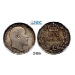 Lot: 2486. Great Britain, Edward VII, 1901-1910, 6 Pence 1908, London, Silver, NGC MS64