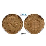 Lot: 2500. Greece, George I, 1863-1913, 20 Drachmai 1876-A, Paris, GOLD, NGC AU55