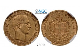 Lot: 2500. Greece, George I, 1863­-1913, 20 Drachmai 1876-­A, Paris, GOLD, NGC AU55