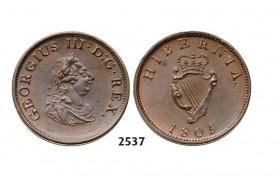 2537. Ireland, George III, 1760-1820, Half Penny 1805, Soho (Birmingham) Copper,