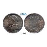 Lot: 2568. Italy, Papal States, Pius IX, 1846-1878, Lira 1866-R (XXI) Rome, Silver, NGC AU58