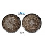 Lot: 2596. Italy, Tuscany, Vittorio Emanuele, 1859-1861 (United to Italian Provisional Government), 50 Centesimi 1860, Florence, Silver, NGC AU50