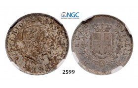 Lot: 2599. Italy, Kingdom, Vittorio Emanuele II, 1861-1878, Lira 1863-M/BN, Milan, Silver, NGC MS62