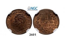 Lot: 2601. Italy, Kingdom, Vittorio Emanuele II, 1861-1878, 1 Centesimo 1862-N/BN, Naples, Copper, NGC MS64RB