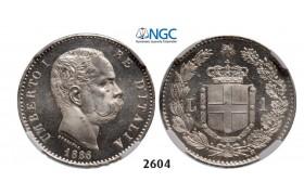 Lot: 2604. Italy, Kingdom, Umberto I, 1878-1900, Lira 1886-R, Rome, Silver, NGC MS65 PL