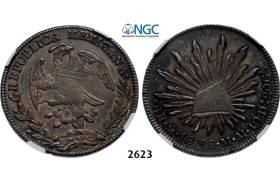 Lot: 2623. Mexico, First Republic, 1824-­1864, 8 Reales 1838­-Mo MM, Mexico City, Silver, NGC XF45