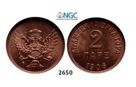Lot: 2650. Montenegro, Nicholas I, 1860-1918, 2 Pare 1906, Vienna, Bronze, NGC MS65RD